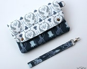 Wallet Wristlet Clutch LARGE Narwhals N Octopi made to order