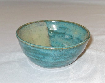 Dipping / Sauce Bowl - Turquoise / Jade and Light Green - Handmade Stoneware Pottery - Free Shipping
