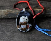 RESERVED for Sharon Sweet Little mouse in the night  Necklace, fused glass pendant,  jewelry, mice, sewing mouse