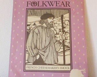 Vintage Folkwear French Cheesemaker's Smock Pattern UNCUT Reenactment Farmers Garb Roquefort Traditional Shirt Men's Shirt Peasant Shirt Top