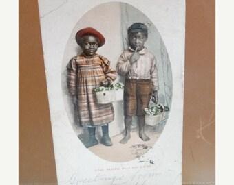 1902 Black Americana Postcard Photograph, Children, Bashful Billy & Sister, Boy  Girl, Brother , American Families Child, Historical