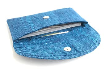 Blue crosshatch checkbook cover cash envelope wallet. magnetic snap fabric womens coupon holder case. teen tween gift idea