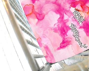 Abstract Watercolor-Pink and Coral- Fitted Crib Sheet-NOW IN MINKY