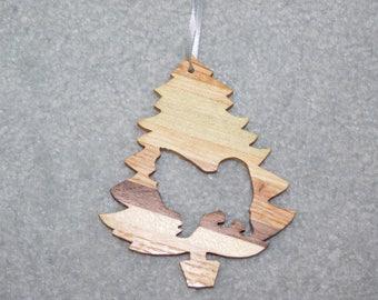 Wood Christmas Tree Dog Ornament -  Pomeranian