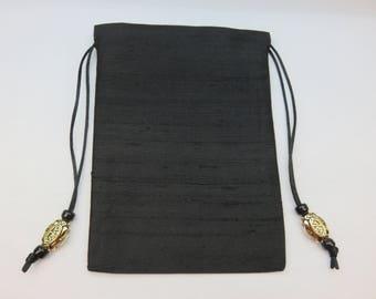 5 x 7 Black Pure Silk Tarot Bag for Tarot, Runes, Pendulums, Crystals, Ritual Items