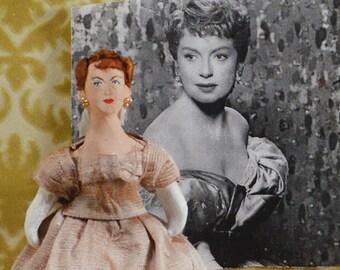 Deborah Kerr Doll Miniature Golden Hollywood Movie Actress Caricature Art by Uneek Doll Designs