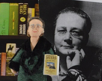 Dorothy Sayers Doll Miniature Author Crime Writer Art Collectible Book Geek Gift