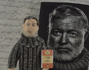 Ernest Hemingway-  Doll Art Miniature- Farewell to Arms-  Classic Literature- Book Writer
