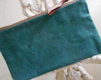 SALE Vtg scout canvas utility pouch, mini clutch - forest green - eco vintage fabrics