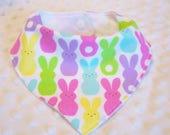 FREE SHIPPING Colorful Bunny Rabbits Bandana Baby Bib --Drooler Bib--