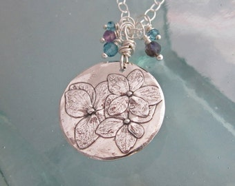 Handcrafted Silver Hydrangea Necklace with Blue Topaz, Amethyst, Iolite