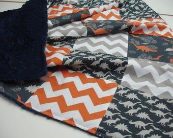 Dinosaur Medley Navy Orange and Gray 3 Piece Baby Crib Bedding Set MADE TO ORDER Free Shipping