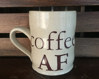 Durable White Stoneware Coffee AF Mug