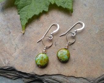 Earthy green Czech glass earrings Loudees Jewelry