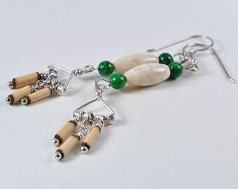 Long earrings | Fossil earrings | bamboo earrings | bead earrings