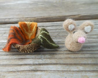 Tiny Little Needle Felted Wool Mouse with Acorn Cap Bed