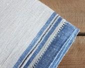 vintage linen napkins / blue & white linen cotton serviettes
