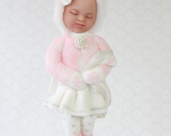 Snow Baby Girl Ornament with blanket. Baby's first Christmas gift pink white glitter snow babies sleeping baby