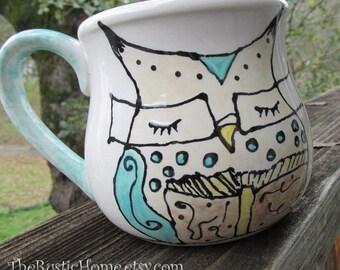 Owl mug book lovers pottery mug cup owl wearing glasses reading teacher librarian owl mother's day mug mom mum mommy grandma owl reading
