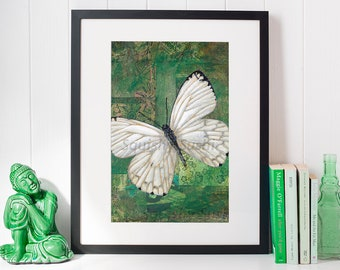 Stolen Memory - Giclee Fine Art Print Mixed Media Butterfly Painting