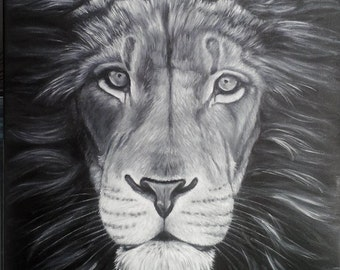 "Oil Painting Lion 16""x 20"" READY to SHIP"