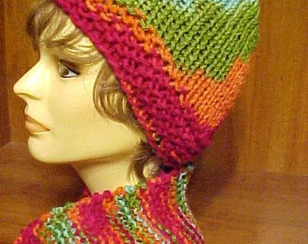 HANDKNIT SCARF & Matching CAP~Acrylic yarn~~Great All Winter Long~~Multi-Color~~Warm and Cozy~~Stylish~~Trendy~~Fashionable