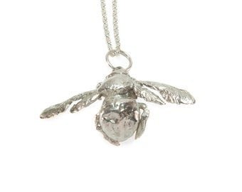 Carpenter Bee Pendant Necklace Sterling Silver