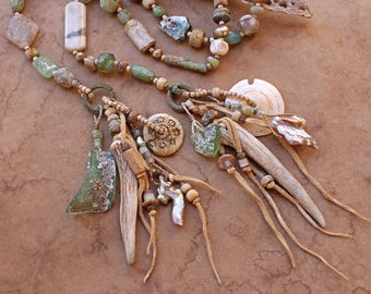 Spirit Beads for Meditation and Prayer + Soft Spring Colors + Present Moment + Contemplation + Ancient Glass, Antler, Baroque Pearl