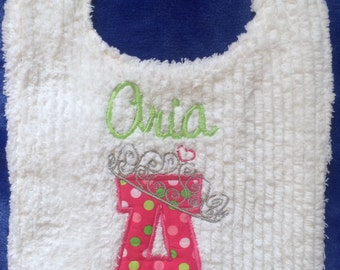 Princess tiara toddler bib