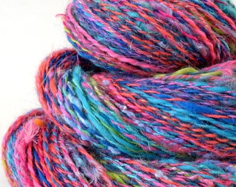 Handspun Yarn -  Spindle Spun Merino Bamboo Silk  Yarn - Art Yarn - 1.8oz, 210yd, 18WPI
