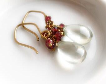 Satin smooth sage green prasiolite briolettes and garnet gemstone clusters on brass finishings