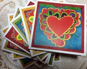 RESERVED for Lisa Bright Colorful Hearts Gift Cards Set of Ten Love Notes Hostess Party Gifts Secret Admirer Valentines Day Sweetheart