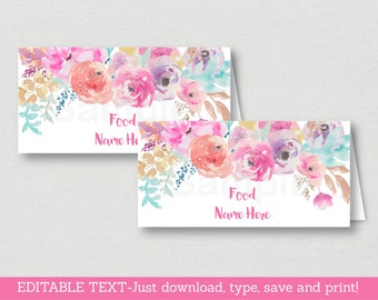 Pink Floral Bridal Shower Food Tent Cards / Place Cards / Floral Bridal Shower / Watercolor Floral / INSTANT DOWNLOAD Editable PDF B100