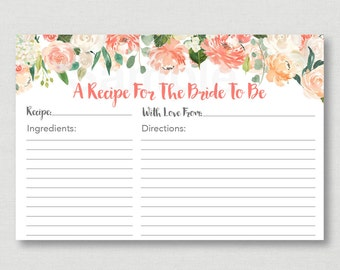 Floral Bridal Shower Recipe Cards / Floral Bridal Shower / Watercolor Floral / Peach Floral / Printable Recipe Card / INSTANT DOWNLOAD B102