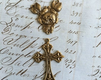 Rosary Center - Rose Pendant - Cross Pendant - Brass Ox - Antiqued Brass
