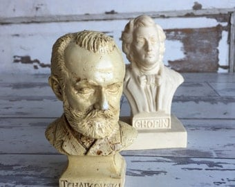 Vintage Bust of Tchaikovski and Chopin - Tiny and Serious