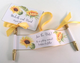 Save the date wedding invitation mini scrolls with sunflowers and custom printed folder, set of 10
