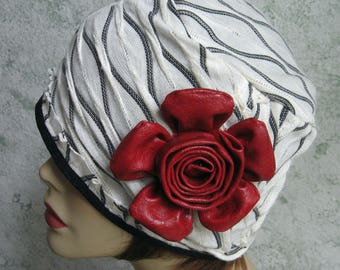 Womens Hat Black And White Textured Light Weight Knit Fabric With Large Faux Red Leather Flower Trim Chemo Hair Loss Hat Head Size 21- 23