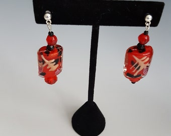 Asian Inspired Red Glass Earrings