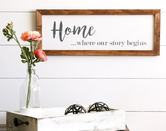 HOME is there our story begins Farmhouse Style Rustic Wood Sign, Handmade, Inspirational Quote, Shabby Chic