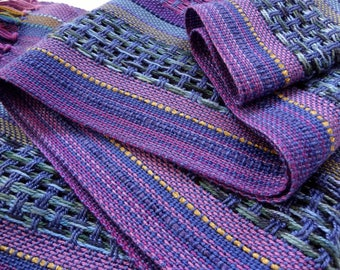 handwoven melodic blues and purples symphony scarf