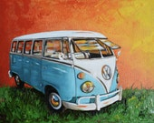 """1960's Volkswagen Bus, Original painting, Camper Bus, 11"""" x 14"""", one of a kind, 1966 VW Bus"""