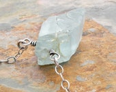 Raw Aquamarine Pendant Necklace - Blue Necklace - Rough Aquamarine Jewelry - March Birthstone - Sterling Silver - Minimalist Necklace #4801