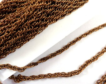 25ft Copper Pretzel Chain 3mm Antique Copper Plated Iron Not Soldered - 25 ft - STR9021CH-AC25
