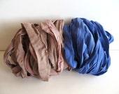 Silk Sari Ribbon, Recycled Taupe & Blue Sari Ribbon, 10 Yards