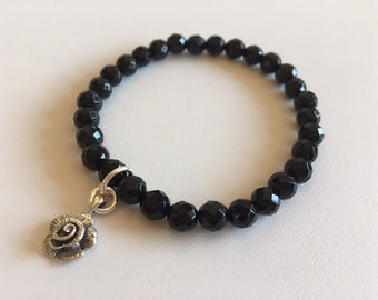 Black Onyx Energy Bracelet With Sterling Rose Charm