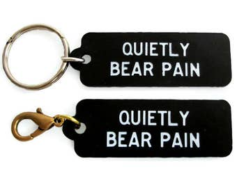 Quietly Bear Pain| Hotel Keychain| Motel Keychain| Small Black Key Chain| Made in US| plastic hotel keychain, hotel key fob, plastic key fob