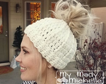 Pony Tail Messy Bun Top Knot Crochet Hat Teen Adult Pick your Color Handmade