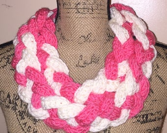 Bright Pink and White Crochet Braided Cowl