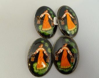 4 Large Vintage Black and Orange Water Girl Lacquer Pins